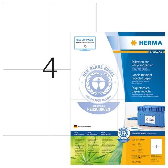 HERMA 10829 Etiketten A4 105x148 mm weiß Recyclingpapier matt Bl