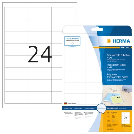 HERMA 4681 Etiketten transparent matt A4 66x33,8 mm Folie 600 St