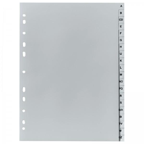 Register DIN A4 PP 20-teilig A-Z Grau