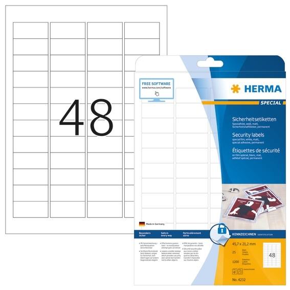 HERMA 4232 Sicherheitsetiketten A4 45,7x21,2 mm weiß extrem star