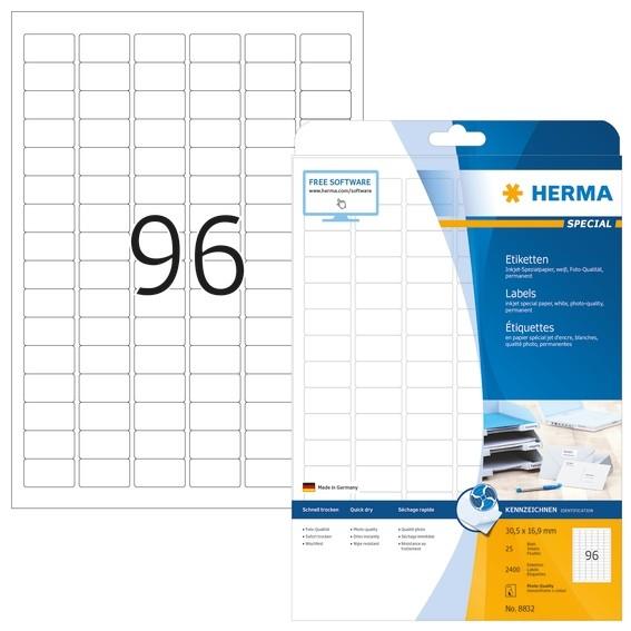 HERMA 8832 Inkjet-Etiketten A4 30,5x16,9 mm weiß Papier matt 240
