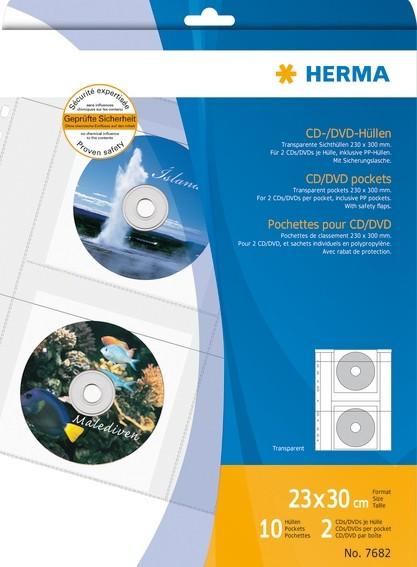 HERMA 7682 CD/DVD-Hüllen, transparente Folie incl. Papierhüllen