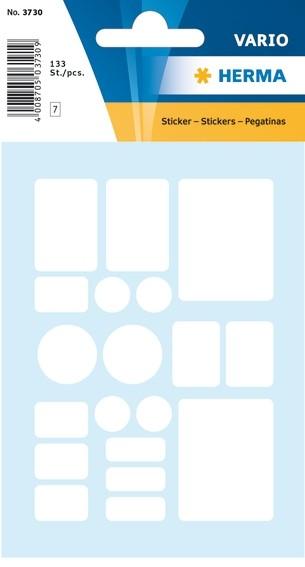 HERMA 3730 Vielzwecketiketten 7 Formate sortiert weiß Papier mat