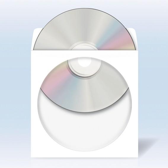 HERMA 1141 CD/DVD-Papierhüllen weiß mit Klebefläche 1000 St.