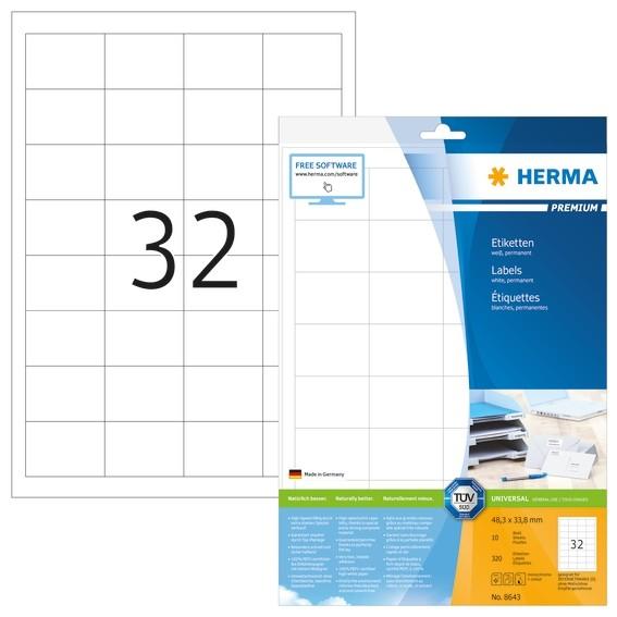 HERMA 8643 Etiketten Premium A4 48,3x33,8 mm weiß Papier matt 32