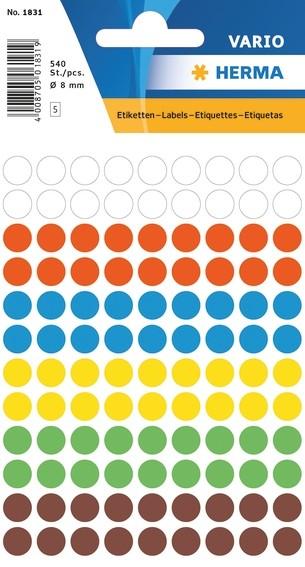 HERMA 1831 Vielzwecketiketten Ø 8 mm rund farbig sortiert Papier