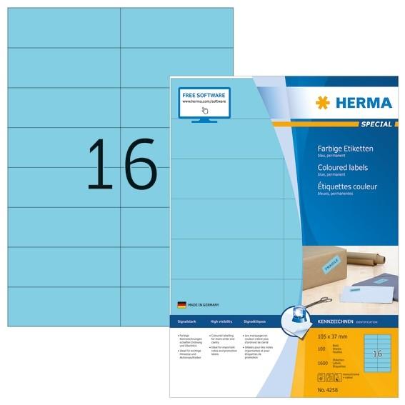 HERMA 4258 Farbige Etiketten A4 105x37 mm blau Papier matt 1600