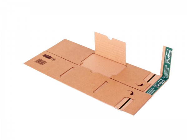 Buch-Versandverpackungen mit zentraler Packgutaufnahme und Schut