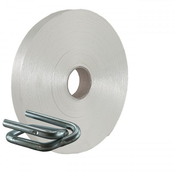 35 mm Textil Umreifung Set Umreifungsband Metallklemmen phosphat