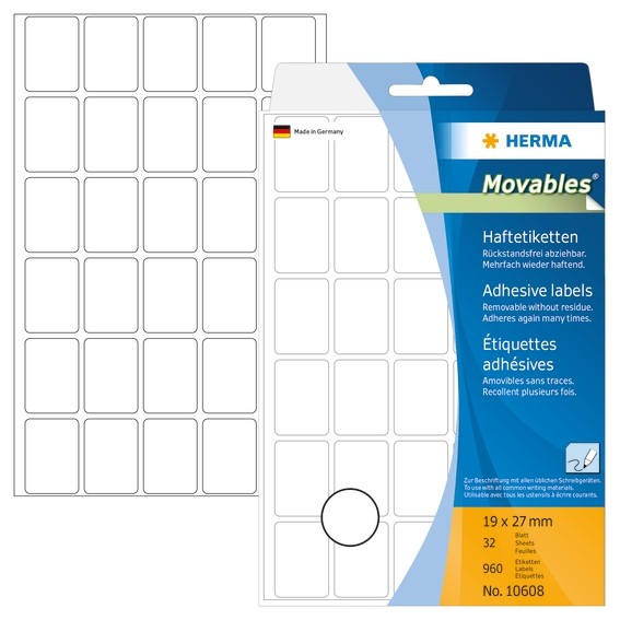 HERMA 10608 Vielzwecketiketten 19x27 mm weiß Movables/ablösbar P