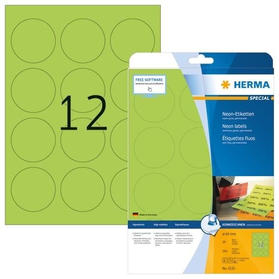 HERMA 5155 Neonetiketten A4 Ø 60 mm rund neon-grün Papier matt 2