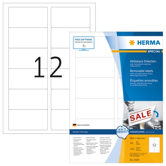 HERMA 10304 Ablösbare Etiketten A4 88,9x46,6 mm weiß Movables/ab