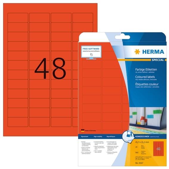 HERMA 4367 Farbige Etiketten A4 45,7x21,2 mm rot ablösbar Papier