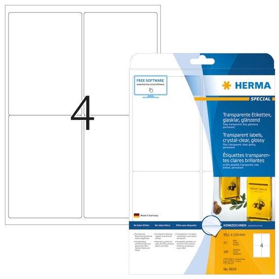 HERMA 8019 Etiketten transparent glasklar A4 99,1x139 mm transpa