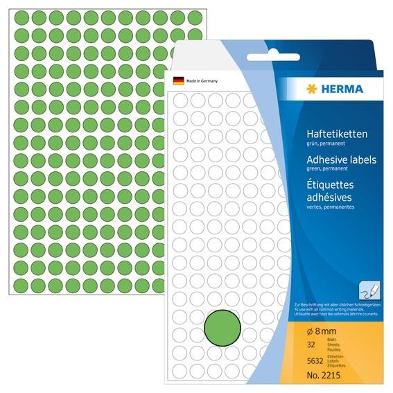 HERMA 2215 Vielzwecketiketten/Farbpunkte Ø 8 mm rund grün Papier