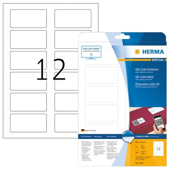 HERMA 9643 QR-Code Etiketten A4 80x40 mm weiß Papier matt blickd