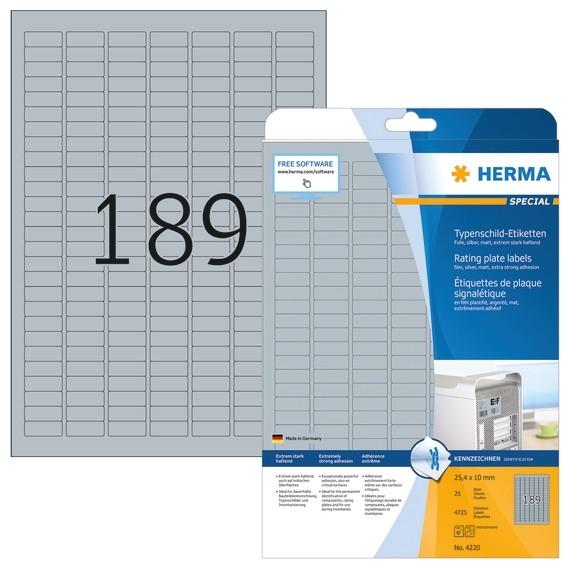 HERMA 4220 Typenschildetiketten A4 25x10 mm silber extrem stark