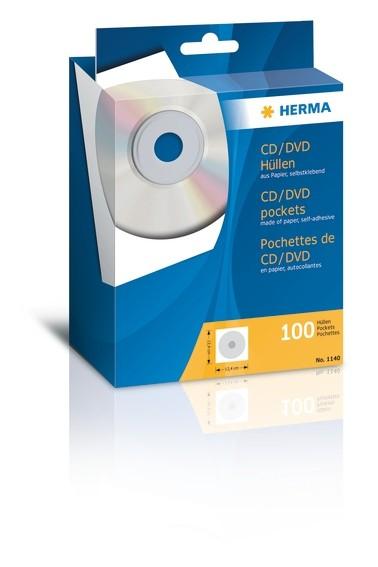 HERMA 1140 CD/DVD-Papierhüllen weiß mit Klebefläche 100 St.