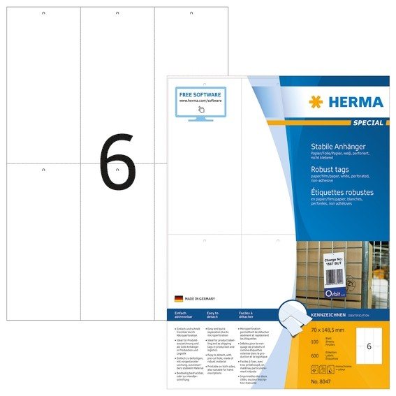 HERMA 8047 Stabile Anhänger A4 70x148,5 mm weiß Papier/Folie/Pap