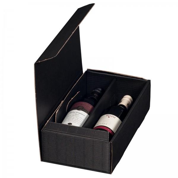 Geschenkkarton für 2 Flaschen Wein 192 x 95 x 360 mm Schwarz