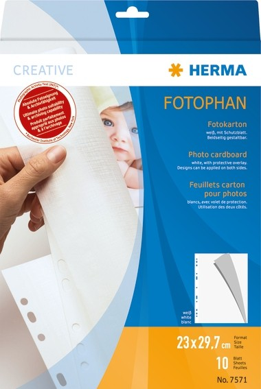 HERMA 7571 Fotokarton, 230x297 mm, weiß, 10 Blatt