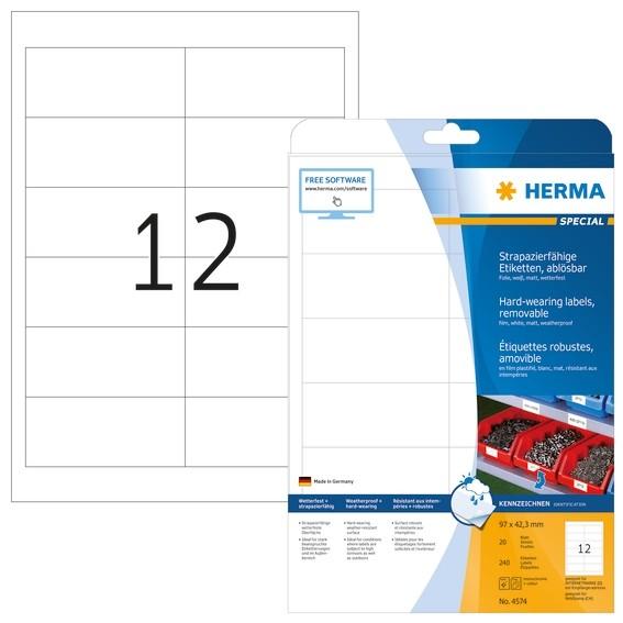 HERMA 4574 Wetterfeste Folien-Etiketten A4 97,0x42,3 mm ablösbar