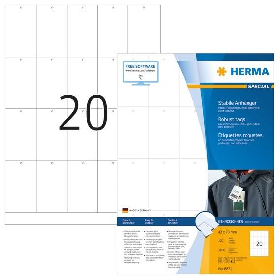 HERMA 6871 Stabile Anhänger A4 42x70 mm weiß Papier/Folie/Papier