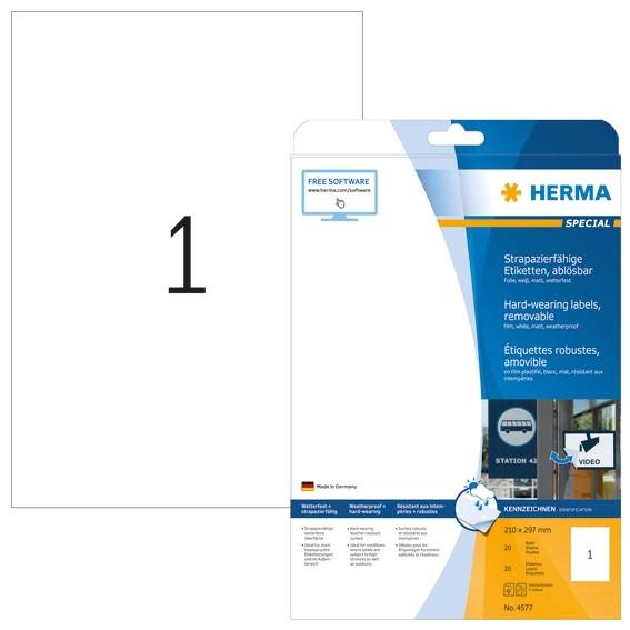HERMA 4577 Wetterfeste Folien-Etiketten A4 210,0x297,0 mm ablösb