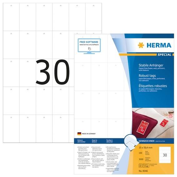 HERMA 8046 Stabile Anhänger A4 35x59,4 mm weiß Papier/Folie/Papi
