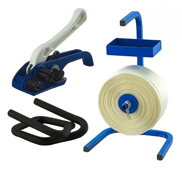 25 mm Textil gewebt Umreifung Set Umreifungsband Abroller Bandsp