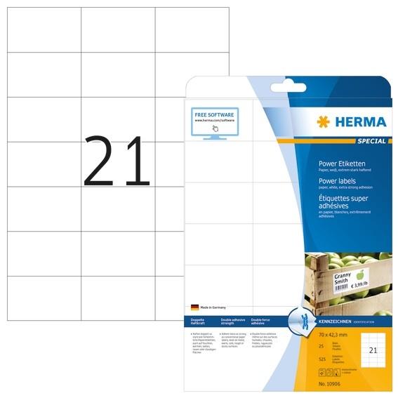 HERMA 10906 Etiketten A4 70x42,3 mm weiß extrem stark haftend Pa