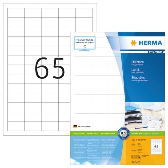 HERMA 4270 Etiketten Premium A4 38,1x21,2 mm weiß Papier matt 65
