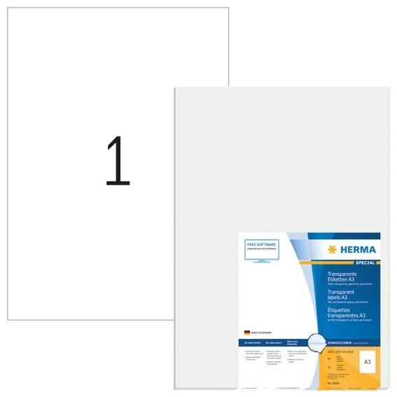 HERMA 8694 A3-Etiketten transparent glasklar 297x420 mm transpar