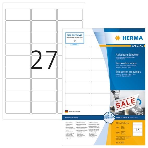 HERMA 10300 Ablösbare Etiketten A4 63,5x29,6 mm weiß Movables/ab