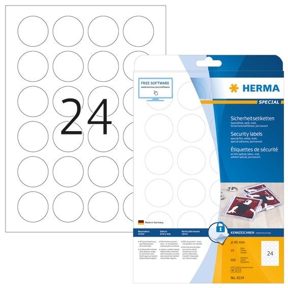 HERMA 4234 Sicherheitsetiketten A4 Ø 40 mm rund weiß extrem star
