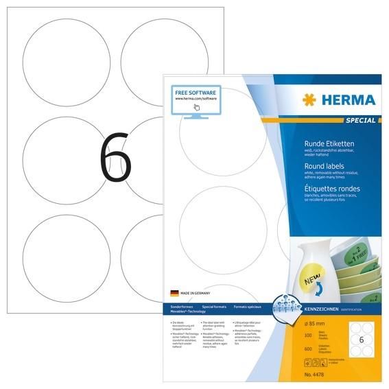 HERMA 4478 Ablösbare Etiketten A4 Ø 85 mm rund weiß Movables/abl