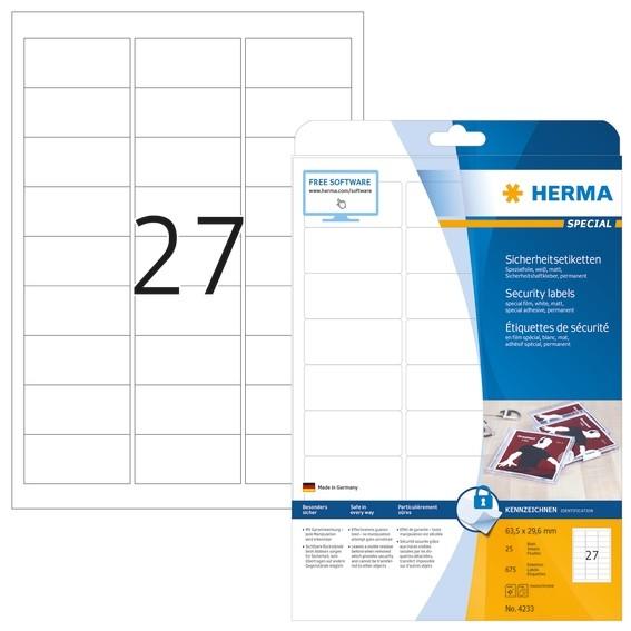 HERMA 4233 Sicherheitsetiketten A4 63,5x29,6 mm weiß extrem star