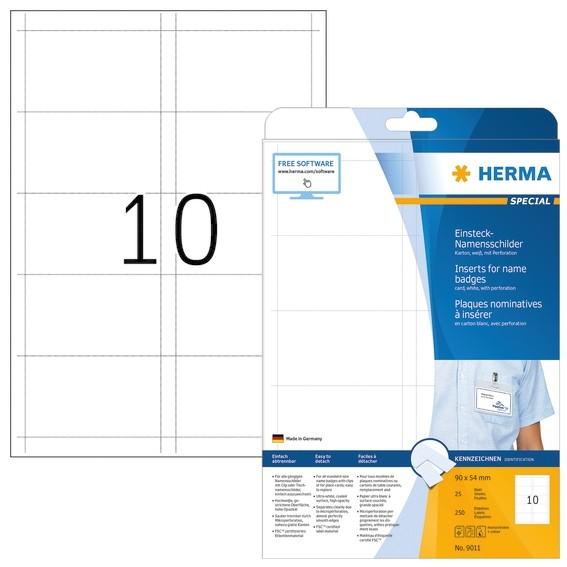 HERMA 9011 Namens-Einsteckschilder A4 90x54 mm weiß Karton nicht