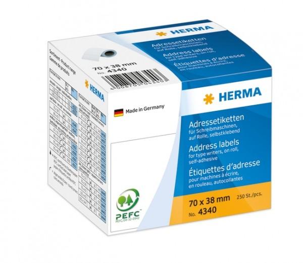 HERMA 4340 Adressetiketten für Schreibmaschinen auf Rollen 70x38