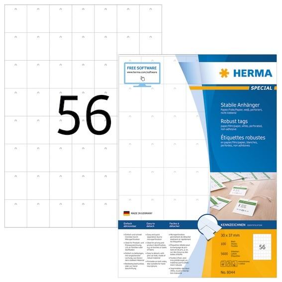 HERMA 8044 Stabile Anhänger A4 30x37 mm weiß Papier/Folie/Papier
