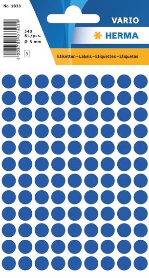 HERMA 1833 Vielzwecketiketten Ø 8 mm rund dunkelblau Papier matt