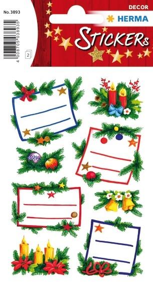 HERMA 3893 10x Sticker DECOR Tannengestecke, beglimmert