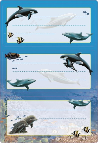 HERMA 5579 10x Schuletiketten Delfine, beglimmert