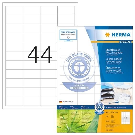 HERMA 10821 Etiketten A4 48,3x25,4 mm weiß Recyclingpapier matt