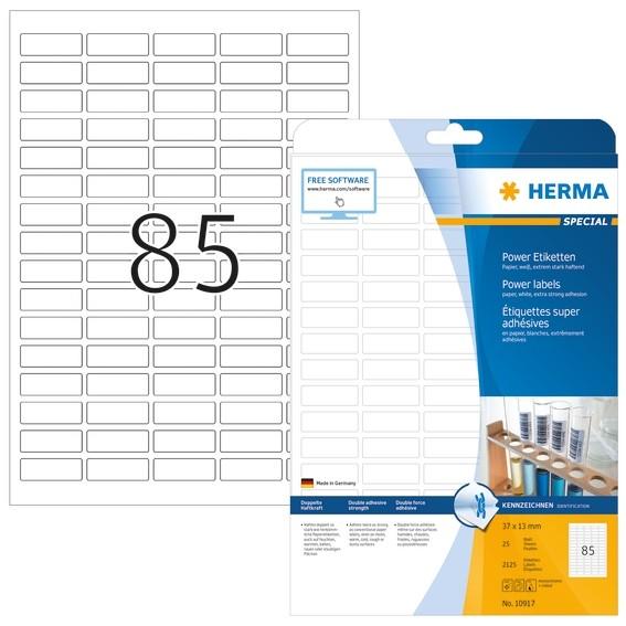 HERMA 10917 Etiketten A4 37x13 mm weiß extrem stark haftend Papi