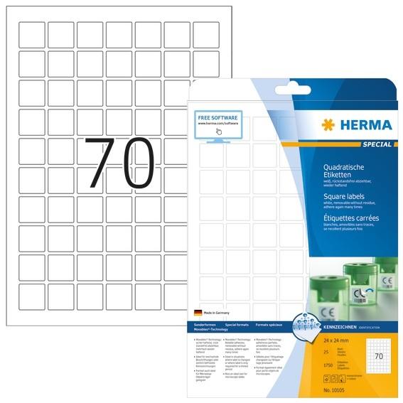 HERMA 10105 Ablösbare Etiketten A4 24x24 mm weiß quadratisch Mov