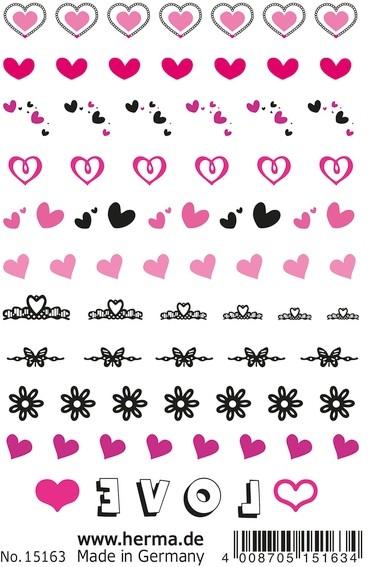 HERMA 15163 10x CLASSIC Nail Tattoo Hearts