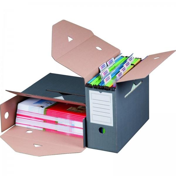 Archivbox für Hängemappen 330 x 120 x 265 mm Anthrazit