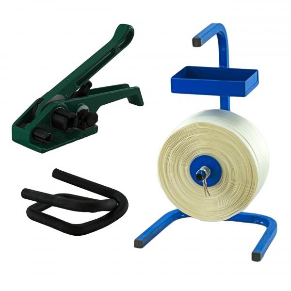 19 mm Textil gewebt Umreifung Set Umreifungsband Abroller Bandsp