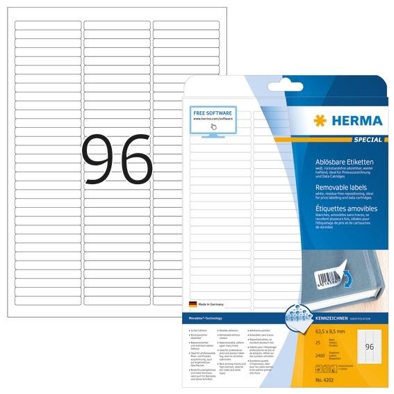 HERMA 4202 Ablösbare Etiketten A4 63,5x8,5 mm weiß Movables/ablö